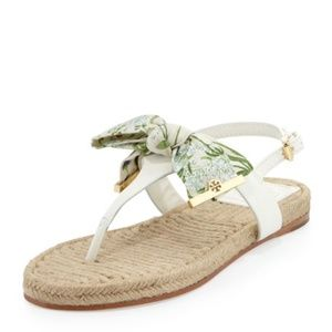 Tory Burch Penny Floral Thong Bow Sandals 9.5